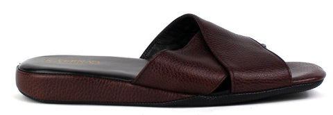 KALENA'S - Men's Leather Criss Cross Slippers - KALENA's Shoes