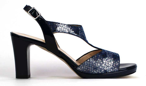 KALENA'S -Blue Animal Print High Heel Sandal - KALENA's Shoes