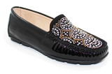 Kalena's Patent Leather Moccasin Black Angled