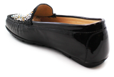 Kalena's Patent Leather Moccasin Black Heel