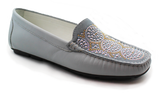 Kalena's Patent Leather Moccasin Blue Angled