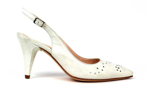 KALENA'S - 2 Inch Pump with Suede and Rhinestones - KALENA's Shoes
