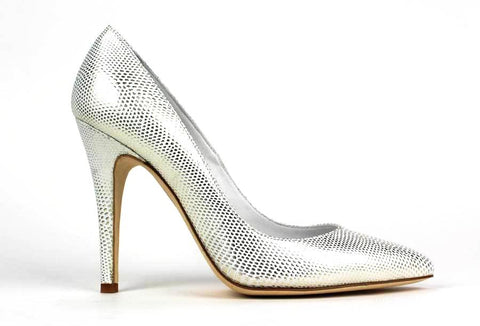 CARMEN'S - Leather Pump with Snake Skin Pattern