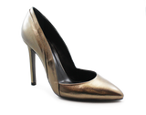 Carmen Leather High Heel Pump Pewter Angled