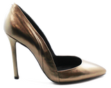 Carmen Leather High Heel Pump Pewter Side
