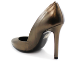 Carmen Leather High Heel Pump Pewter Heel
