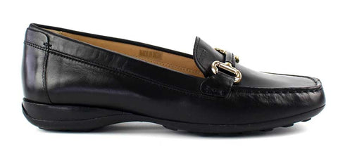 GEOX - Leather Loafer with Gold Buckle Detail - KALENA's Shoes