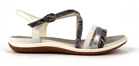 GEOX - Flat Cross Strap Sandal with Snake Skin Detail - KALENA's Shoes