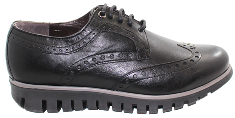 Jackal Brogue Leather Lace-Up Shoe Black Side