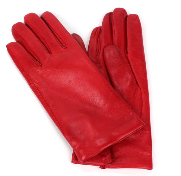 KALENA'S - Ladies Red Leather Gloves - KALENA's Shoes