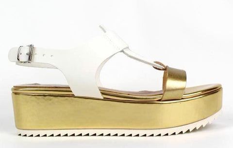 LADY DOC - Gold Sandals With White Sole Detail - KALENA's Shoes
