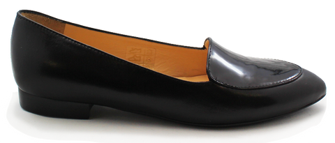 Kalena's Leather Patent Low Heel Shoe Black Side