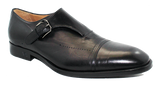 Vittorio Virgili Slip-On Shoe with Side Buckle Black Angled