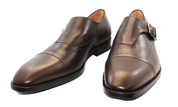 Vittorio Virgili Slip-On Shoe with Side Buckle Brown Pair