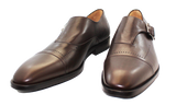 Vittorio Virgili Leather Slip-On With Buckle Brown Pair