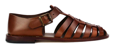 FRATETTLI VANNI - Brown Leather Sandals with Buckle - KALENA's Shoes