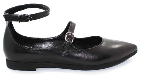 XSA Flat Leather Pointed Shoe With Strap Black Side