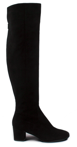 KALENA'S Black Suede Knee High Tall Boots - KALENA's Shoes