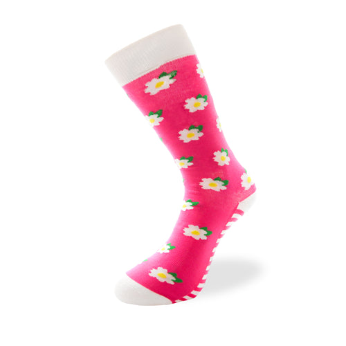 Women's Long Crew Sock - Pink Flowers