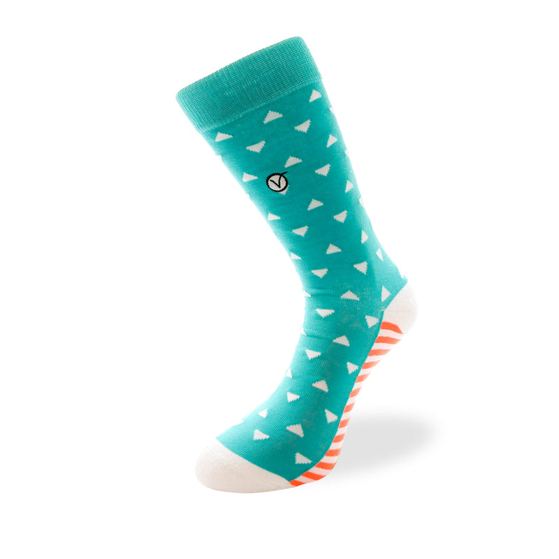 Women's Long Crew Sock - Green with White Triangles