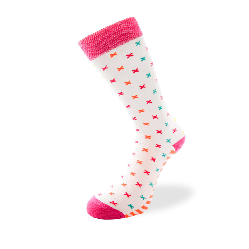 Women's Long Crew Sock - White with Multicolored T-Pattern