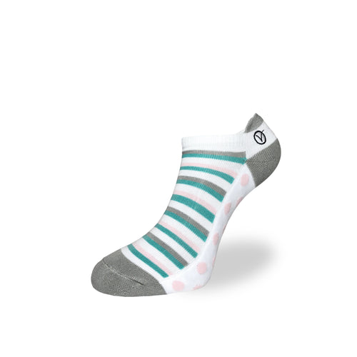 Women's Low Cut Sock - Green and Pink Polka Dot Print