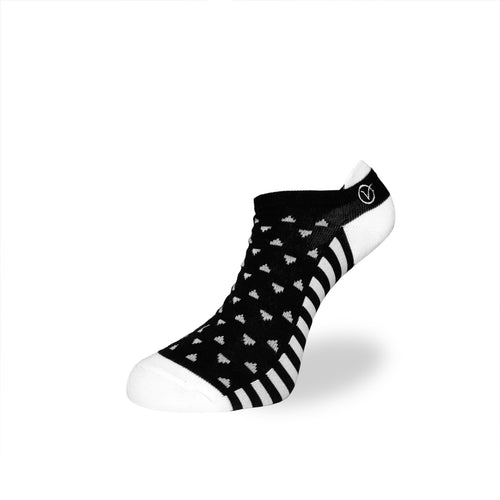 Women's Low Cut Sock - Black and White Triangular Pattern
