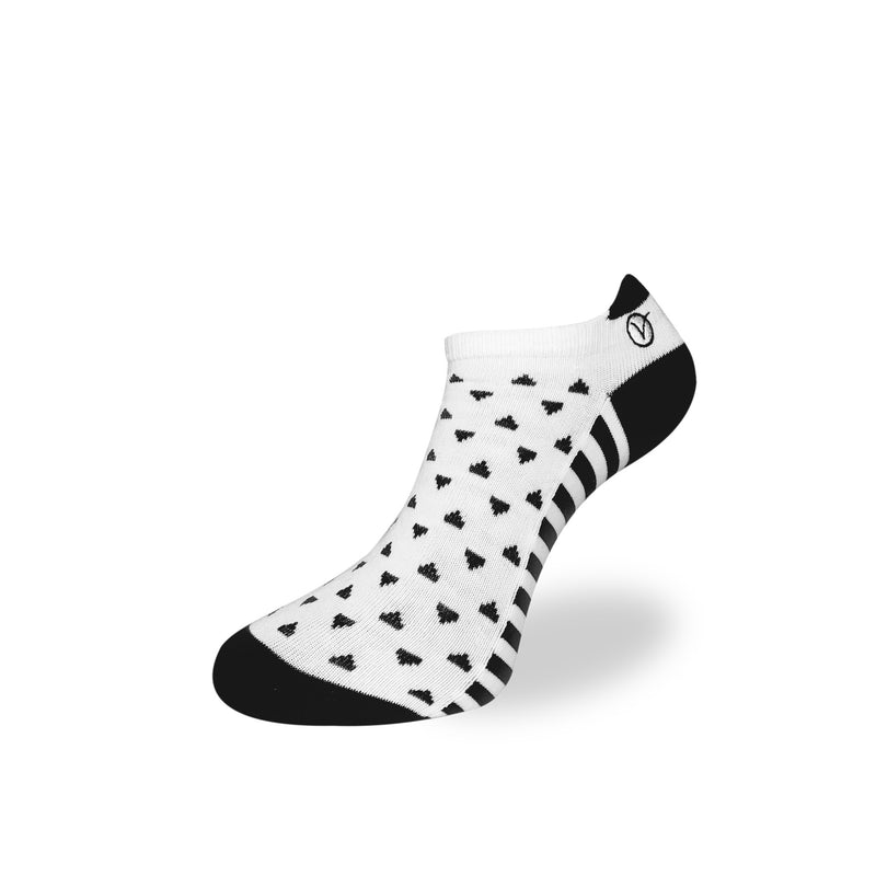 Women's Low Cut Sock - White and Black Triangular Pattern