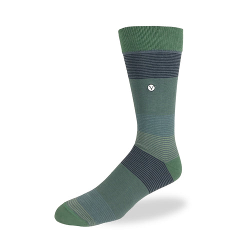 Men's Dress Sock - Green Thin Stripes