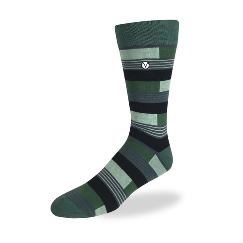 Men's Dress Sock - Green & Black Block