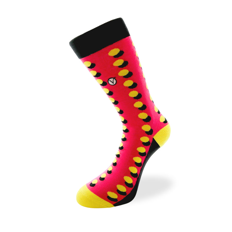 Women's Long Crew Sock - Black and Yellow Dots