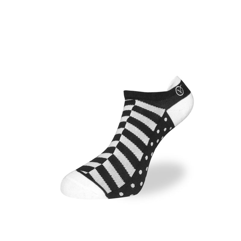 Women's Low Cut Sock - Black and White Block Pattern