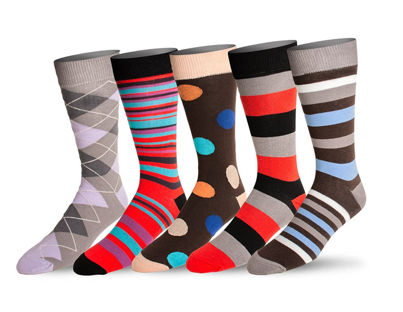 Men's 5 Pack Crew / Dress Socks (Combo 4)