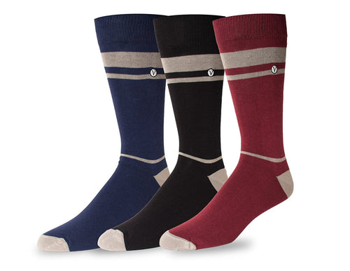 Men's 3 Pack Crew / Dress Socks - Fall Collection (Single Stripe)