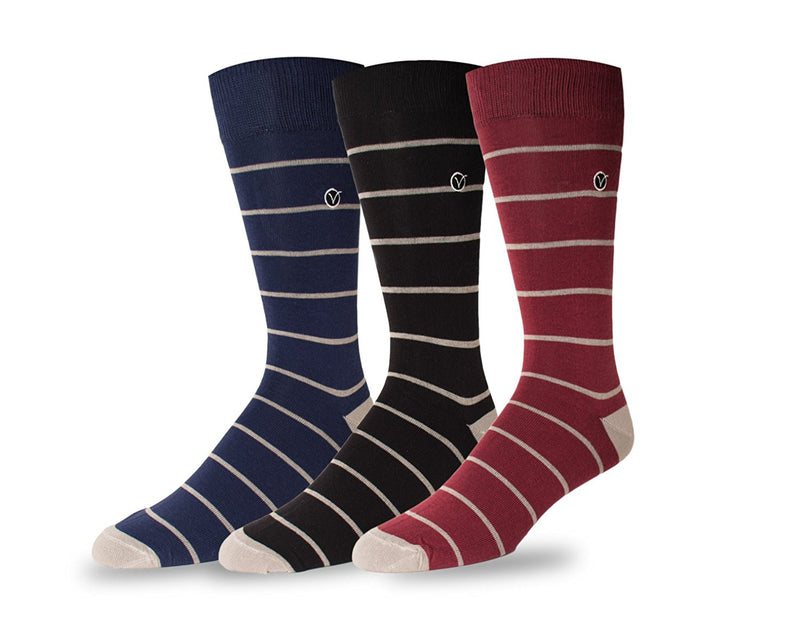 Men's 3 Pack Crew / Dress Socks - Fall Collection (Thin Stripe)