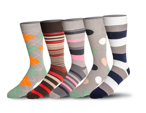 Men's 5 Pack Crew / Dress Socks (Combo 1)