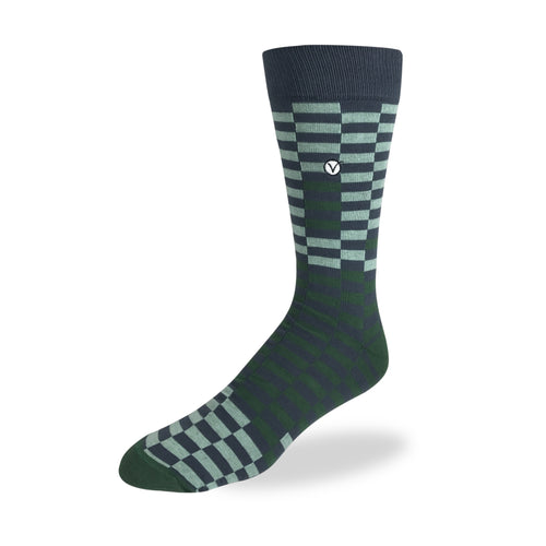Men's Dress Sock - Green & Black Checkers