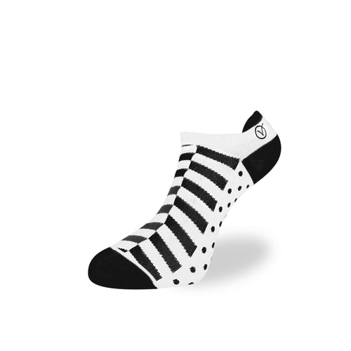 Women's Low Cut Sock - White and Black Block Pattern