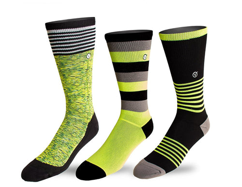 Youth 3 Pack Crew / Athletic Socks (Green)