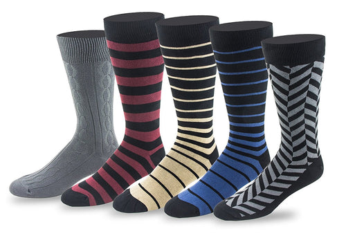 Men's 5 Pack Crew / Dress Socks (Combo 6)