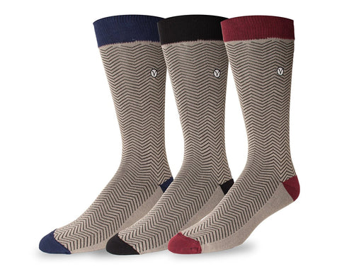 Men's 3 Pack Crew / Dress Socks - Fall Collection (Chevron Stripe)