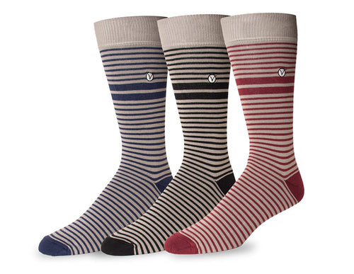 Men's 3 Pack Crew / Dress Socks - Fall Collection (Variable Stripe)