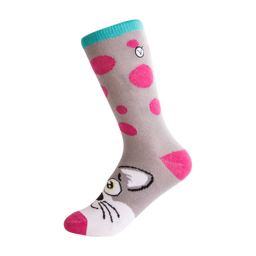 Girl's Crew - Silly Socks - Pink Cat