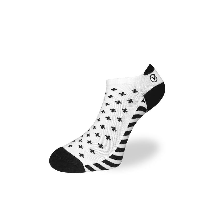 Women's Low Cut Sock - White and Black T Pattern