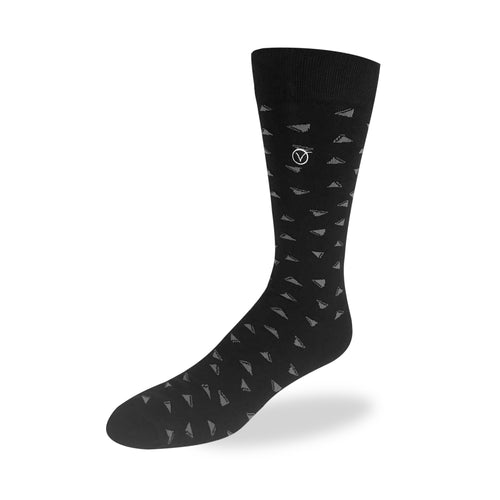 Men's Dress Sock - Black and Gray Tri-Print