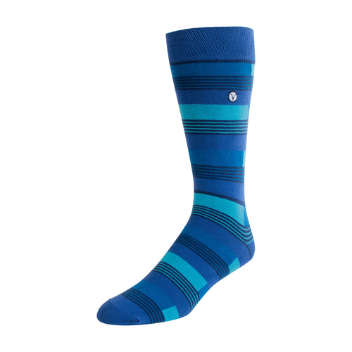 Men's Dress Sock - Blue & Black Block