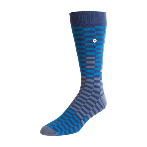 Men's Dress Sock - Blue & Black Checkers