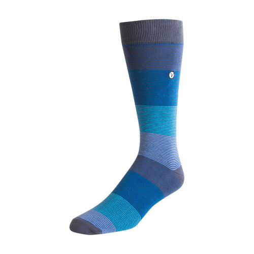 Men's Dress Sock - Blue Thin Stripes