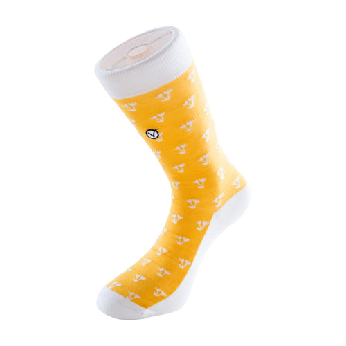 Women's Long Crew Sock - Yellow with Flowers