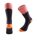Women's Long Crew Sock - Coral Polka Dots